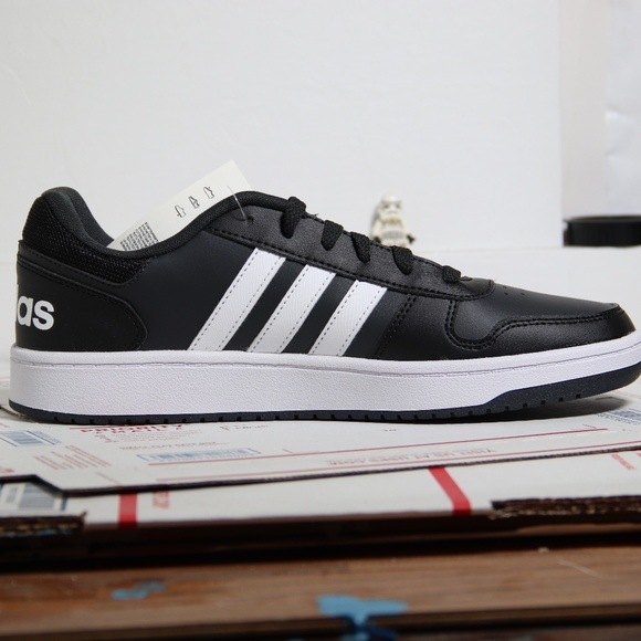 Adidas Black White Hoops 2 Low Tops